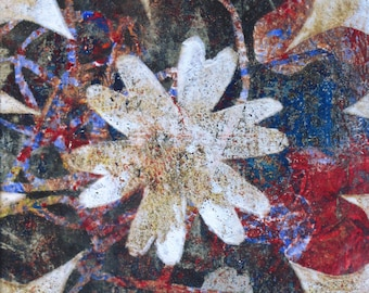 Flower Power 2 - Colorful Abstract Floral Monoprint In Red, White, and Blue - Gelatin Print - by Ohio Artist Karen Koch