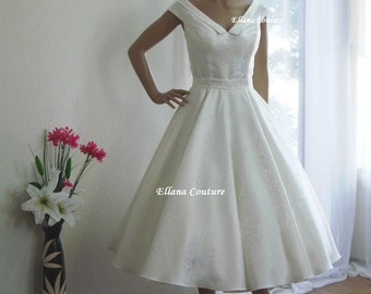 Vivian - Vintage Inspired Tea Length Wedding Dress. Retro Ivory Brocade Bridal Gown.