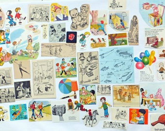 Vintage paper pack, Fun and Games, children's activities, games themed paper ephemera pack, crafting supplies