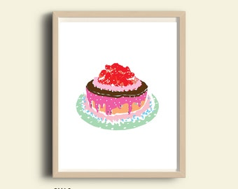 Cake Illustration, printable cake, kitchen decor, cake print, cake poster, birthday cake, printable kitchen decor, sweet print, food art