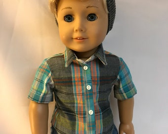 Plaid button down shirt for 18 inch boy dolls 18 inch boy doll clothes