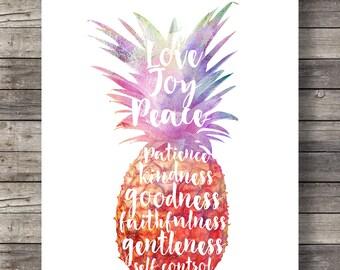 Fruit of the Spirit Galatians 5v22 Bible journaling, Pineapple watercolor typography lettering, Scripture, Printable art print, wall art