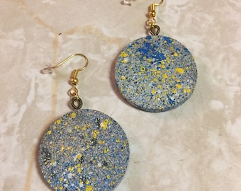 "Wooden spray painted 1 1/8"" hanging earrings"