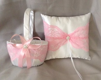 pink lace flower girl basket and ring bearer pillow white or ivory