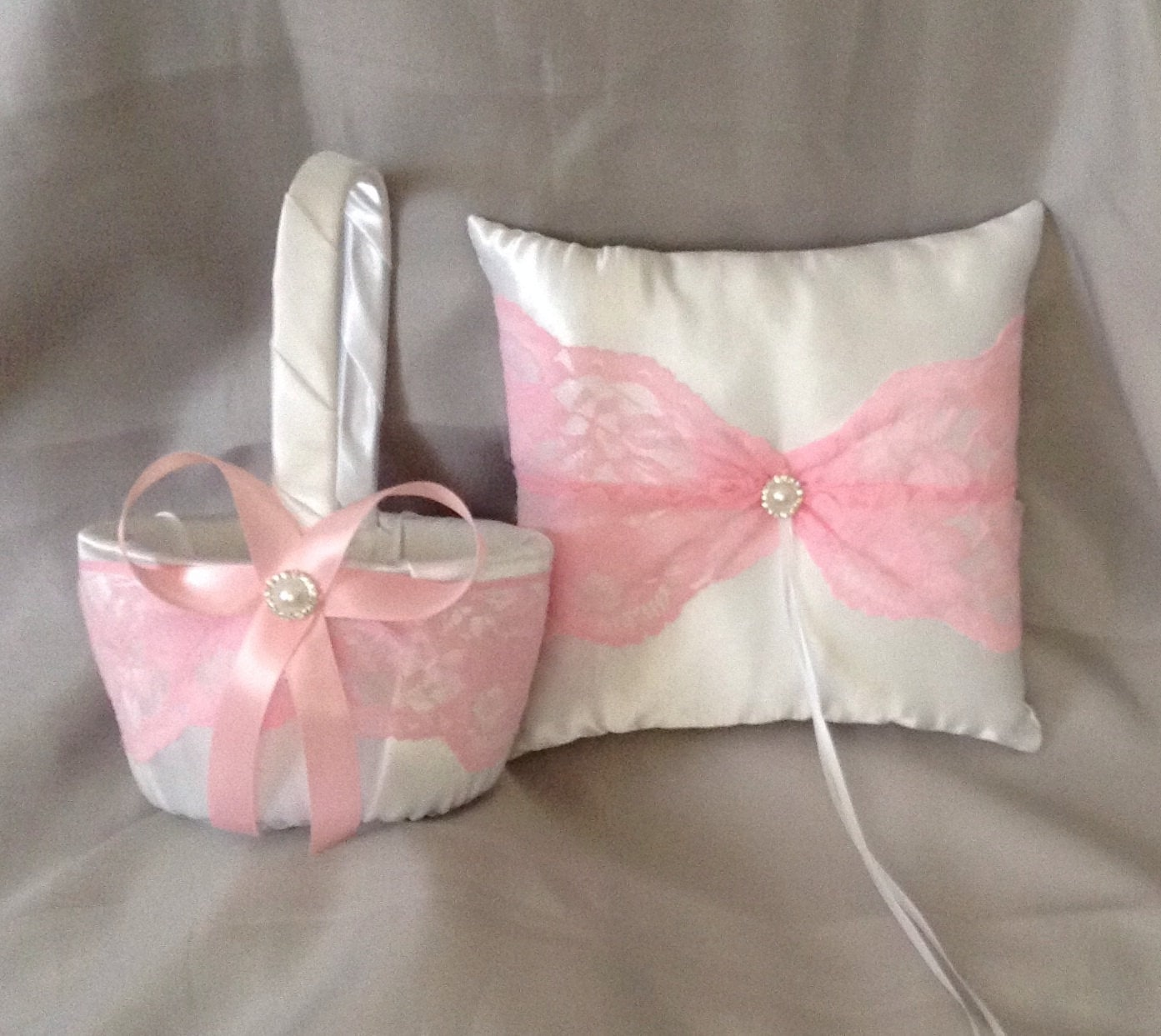 pink lace flower girl basket and ring bearer pillow white or