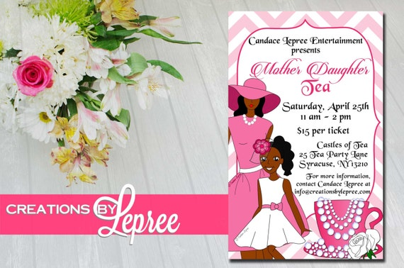 Pink Chevron Illustrated Mother Daughter Tea Invitation with