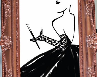 Dalmana print, Fashion Illustration, Picasso Style, Fashion sketch, Wall art, Couture Art