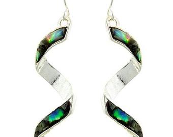 Sale  Abalone Spiral Earrings - Green - Blue - Abalone Shell Earrings - Spiral Dangle Earrings