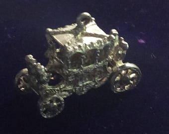 Sterling silver British royal coronation coach London charm vintage # 180s