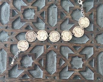 Mercury Dime Coin Bracelet, coin jewelry, Mercury dime, 90% silver, dime bracelet, silver bracelet, 1941, vintage jewelry, coin bracelet