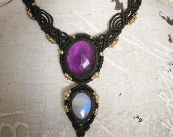 Dual Purpose Macrame Amethyst and Moonstone Adjustable Necklace/Headdress
