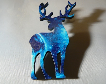 xmas space deer bambi brooch reindeer kitsh 1950s woodcut lasercut retro christmas