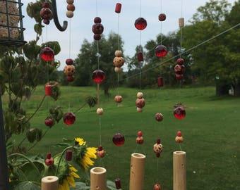 Bamboo wind chime, handmade windchime, patio windchimes, garden decor, suncatcher