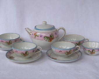 Hand Painted Porcelain Child's Tea Set with Butterflies, Made in Japan