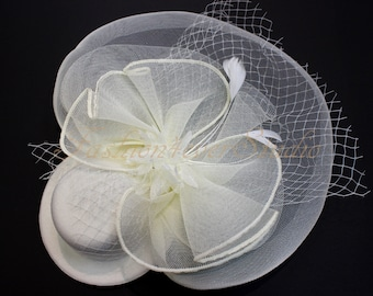 Ivory Headpiece 12 inches, Flower Fascinator, Feather Headpiece, Flower Fascinator, Feather Fascinator, With Hair Clip and Brooch Pin Back