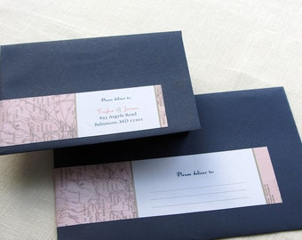 Wrap Around Label - Vintage Map Return Address - Self Adhesive