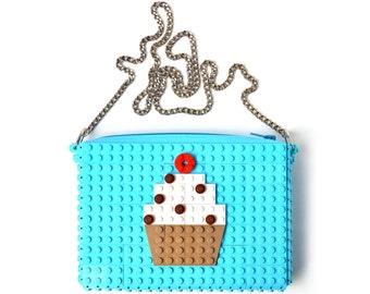 Azure crossbody purse with cupcake made with LEGO® bricks FREE SHIPPING handbag trending fashion gift party wedding retro