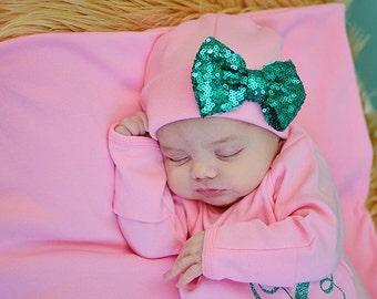 Pink and aqua Newborn Girl hat...newborn baby hat...pink newborn hat...new baby hat...baby girl hat...take home hat.newborn photo prop hat