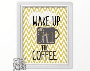 Coffee Art Hipster Print Kitchen Art Coffee Coffee Print Kitchen Decor Wake Up Smell the Coffee : A0104 08 mustard yellow