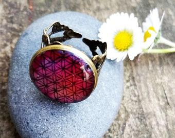Flower of life polyester resin ring