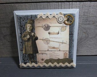 Steampunk Collage Mixed Media Art Wood Plaque Journal Diary Secret Writing Journaling Tag Clock Gears Mechanical Grey Black