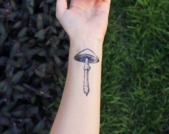 Mushroom Temporary Tattoo, Black Line Ink, Wild Mushroom Tattoo, Fungi, Fungus, Nature Tattoo, Spring Tattoo