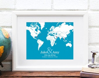 Long Distance World Map, Personalized Map of the World, Best Friend Gift, Military Retirement, Deployment, Anniversary Gift - Art Print