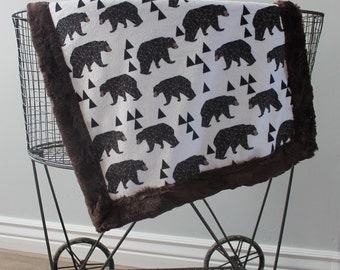 Baby blanket, minky blanket, SHips Today- Lovey, Lovey blanket, 18 x 18, bear Minky blanket,  boy blanket