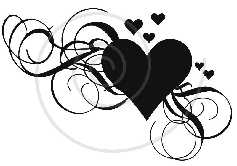 Line Art Of Heart : Heart clip art with swirls printable mother's day card wedding