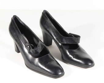 DIEGO DELLA VALLE Italian vintage black leather mary jane shoes heels size 37