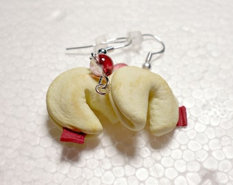 Fortune Cookie Earrings. Polymer Clay.