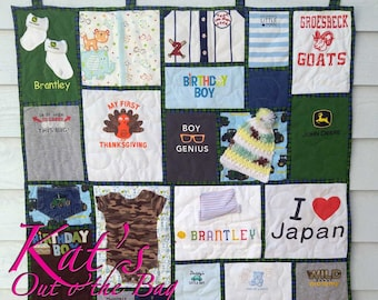Memory Quilt | Wall Hanging Memory Quilt | Baby Clothes Quilt | Memory Blanket | First Year Quilt - made from your baby clothes and items