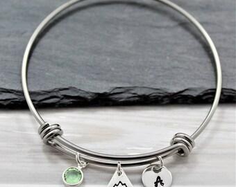 Mountain Bracelet - Hiking Bracelet - Mountain Charm Hiking Jewelry for Women - Hiking Related Gift for Her - Rocky Mountain Bracelet