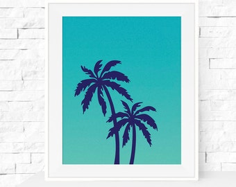 Turquoise Palm Tree Art Print