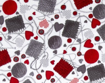 KNITTY KITTY FLANNEL- Knitting Themed Fabric- Super Soft By The Yard