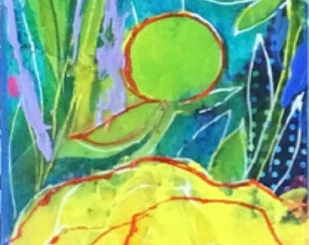 Yellow Peony Garden Slice- Original Encaustic mixed media painting by Maria Pace-Wynters