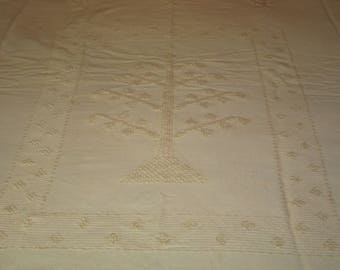 Antique Vintage Tufted Wool Bedspread~Coverlet / Pale Yellow / Tree Motif