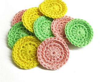 Crocheted circles, 4 cm wide, round patches in yellow green pink, 9 pc.