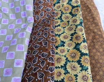 Fat Quarters of Cotton Fabric in Pretty Fall Colors Earth Tones Four Quarters