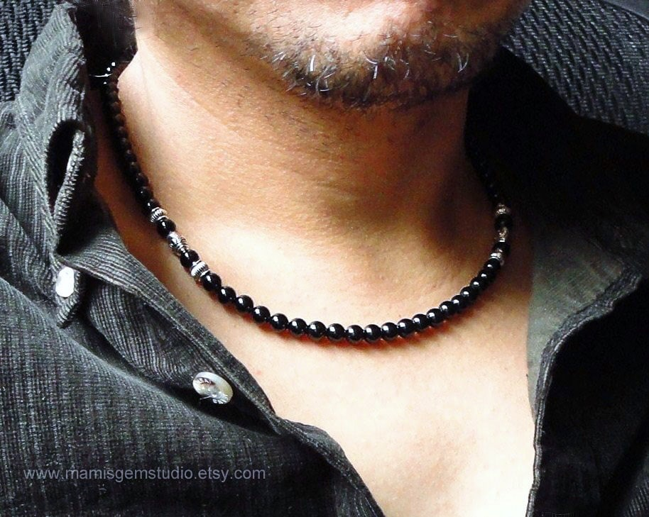Black onyx mens necklace handmade onyx jewelry for men guys zoom mozeypictures Gallery
