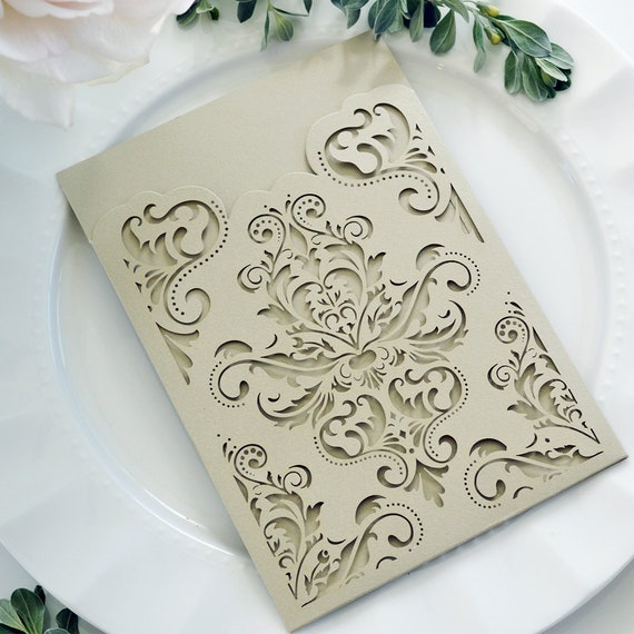 DIY Damask Laser Cut Pocket Invitation - Laser Cut Wedding Invitation - Damask Laser Cut Pocket - Do It Yourself Pocket Invitation
