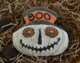 """Mailed, Paper Pattern - 170825 -""""BOO"""", a Ghostly JOL Companion - 4"""" tall -Punch Needle Bowl Filler/Tucks for Halloween Trick & Treats"""