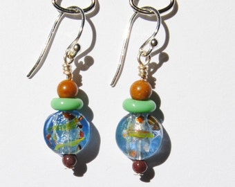 Multicolor Confetti Ice Blue Glass and Jasper Bead Earrings