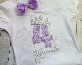 Purple and Silver Princess Birthday | Shirt or Bodysuit | Appliquéd & Embroidered | Personalized | Birthday Outfit | Glitter | By Sixpence