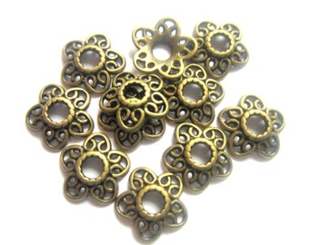 30 Bead caps 12mm lace filigree bead caps antique bronze diy jewelry making supplies H10345-Y5