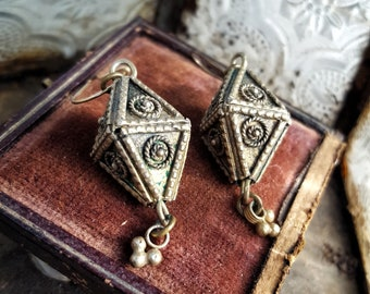 Vintage Boho Gold Geometric Dangle Earrings with Charms