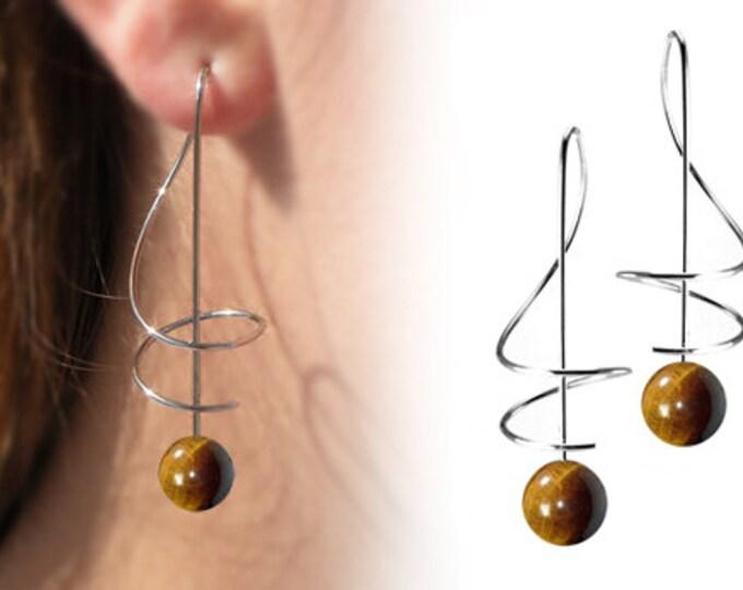 Taormina Tiger Eye Drop Earrings Stainless Steel Wire Music Key