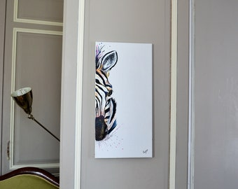 Zebra 60 * 30, original painting in acrylics, Zebra