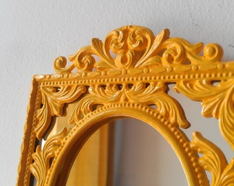 Marigold Yellow Filigree Wall Mirror in Small Vintage Metal Frame, Yellow Nursery, Yellow Home Decor
