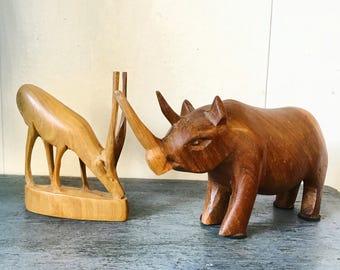 vintage carved animals - mini rhino gazelle wooden sculpture - global safari tribal boho